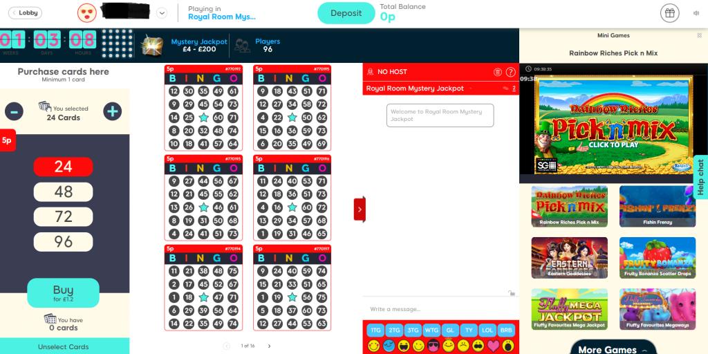 Bingo Room Layout